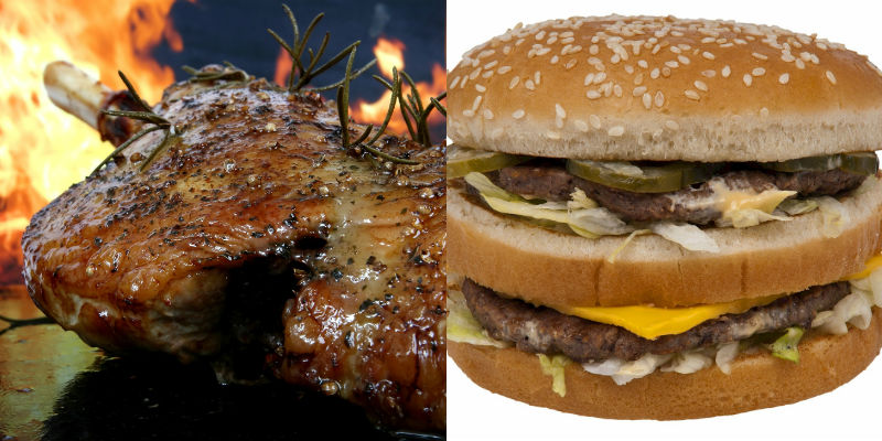 Cordero asado vs Hamburguesa Big Mac (Pixabay)