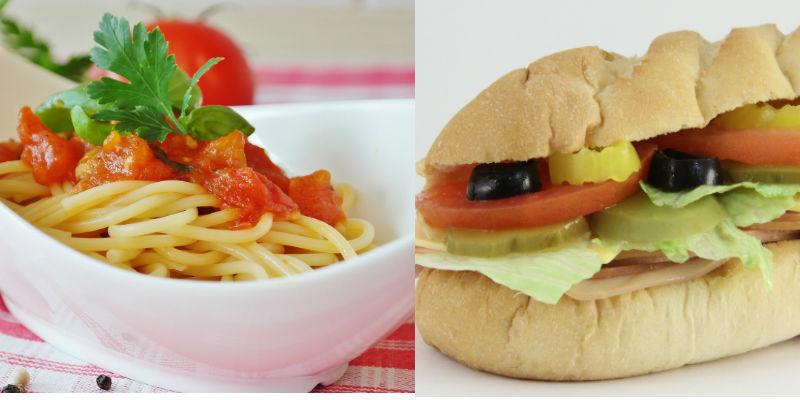Un plato de pasta con tomate vs Subway 15 cm de jamón de pavo (Pixabay)