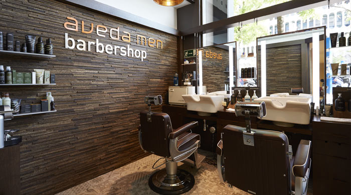 El nuevo espacio Aveda men barbeshop en Madrid.