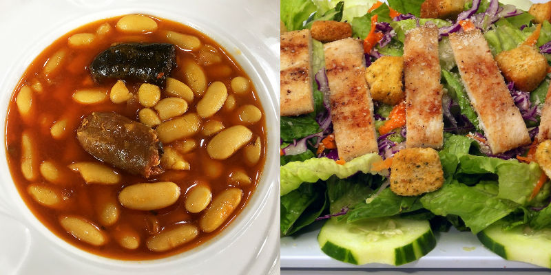 Fabada vs Ensalada César (By Fotoasturias (Own work) [CC BY-SA 3.0 (http://creativecommons.org/licenses/by-sa/3.0)], via Wikimedia Commons / Pixabay)