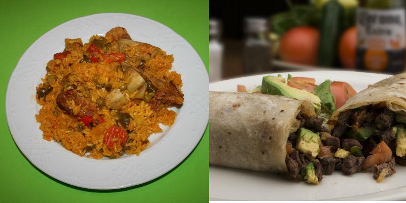 Paella vs Burrito de carne (Pixabay)